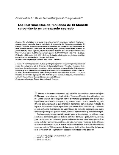 Los instrumentos de molienda de El Manatí: su contexto en un espacio sagrado