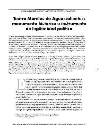 Teatro Morelos de Aguascalientes: monumento histórico e instrumento de legitimidad política