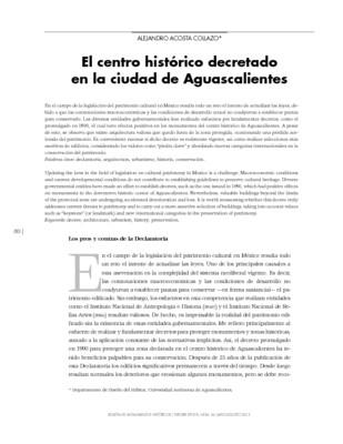 El centro histórico decretado en la ciudad de Aguascalientes