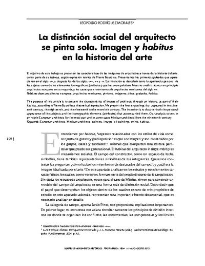 La distinción social del arquitecto se pinta sola. Imagen y habitus en la historia del arte