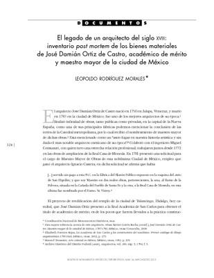 El legado de un arquitecto del siglo XVIII: inventario post mortem de los bienes materiales de José Damián Ortiz de Castro, académico de mérito y maestro mayor de la ciudad de México