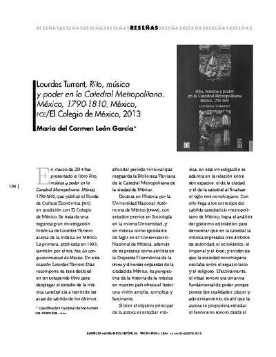 Lourdes Turrent, Rito, música y poder en la Catedral Metropolitana. México, 1790-1810, México, FCE/El Colegio de México, 2013