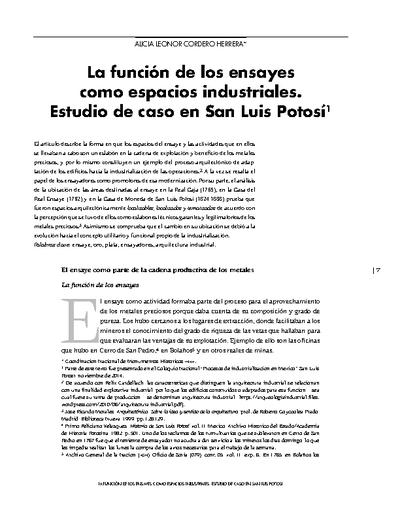 La función de los ensayes como espacios industriales. Estudio de caso en San Luis Potosí