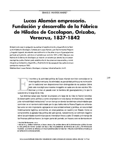 Lucas Alamán empresario. Fundación y desarrollo de la Fábrica de Hilados de Cocolapan, Orizaba, Veracruz, 1837-1842