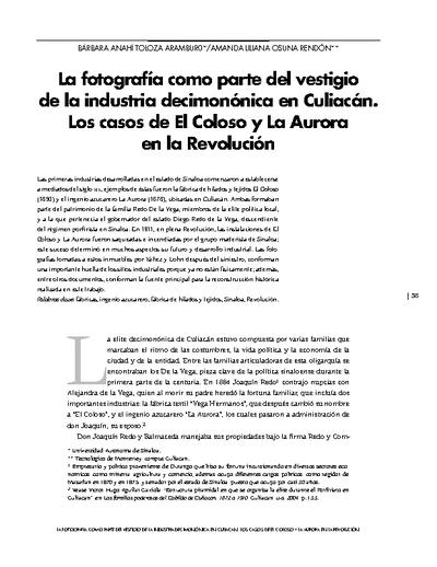 La fotografía como parte del vestigio de la industria decimonónica en Culiacán. Los casos de El Coloso y La Aurora en la Revolución