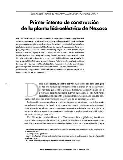 Primer intento de construcción de la planta hidroeléctrica de Nexaca