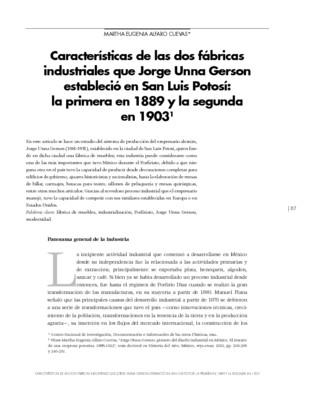 Características de las dos fábricas industriales que Jorge Unna Gerson estableció en San Luis Potosí: la primera en 1889 y la segunda en 1903