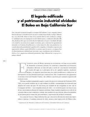 El legado edificado y el patrimonio industrial olvidado: El Boleo en Baja California Sur