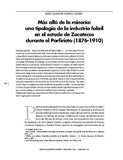 Más allá de la minería: una tipología de la industria fabril en el estado de Zacatecas durante el Porfiriato (1876-1910)