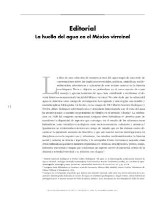 Editorial. La huella del agua en el México virreinal