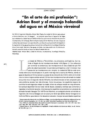 """""""En el arte de mi profesión"""": Adrian Boot y el manejo holandés del agua en el México virreinal"""