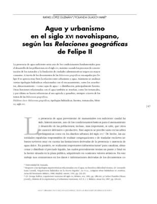 Agua y urbanismo en el siglo XVI novohispano, según las Relaciones geográficas de Felipe II