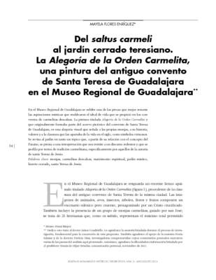 Del saltus carmeli al jardín cerrado teresiano. La Alegoría de la Orden Carmelita, una pintura del antiguo convento de Santa Teresa de Guadalajara en el Museo Regional de Guadalajara