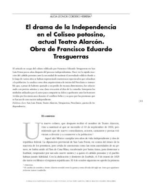El drama de la Independencia en el Coliseo potosino, actual Teatro Alarcón. Obra de Francisco Eduardo Tresguerras