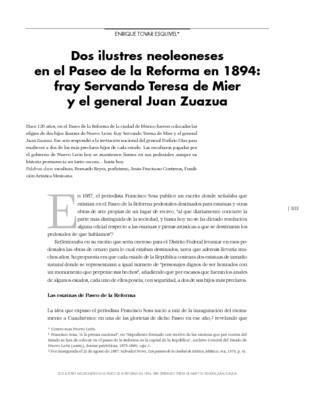Dos ilustres neoleoneses en el Paseo de la Reforma en 1894: fray Servando Teresa de Mier y el general Juan Zuazua