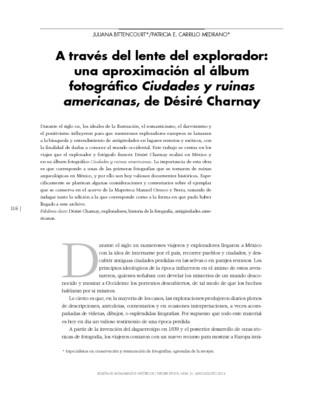 A través del lente del explorador: una aproximación al álbum fotográfico Ciudades y ruinas americanas, de Désiré Charnay