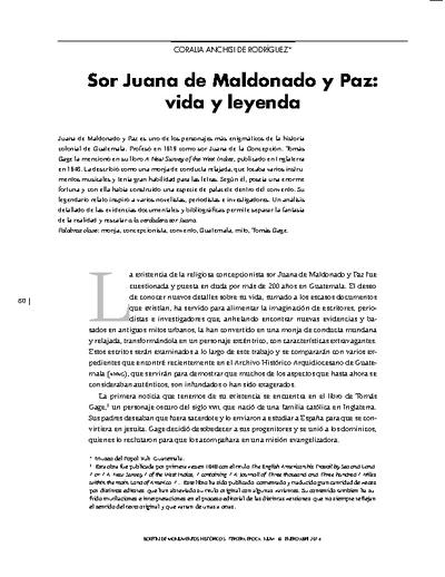 Sor Juana de Maldonado y Paz: vida y leyenda