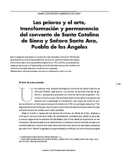 Las prioras y el arte, transformación y permanencia del convento de Santa Catalina de Siena y Señora Santa Ana, Puebla de los Ángeles