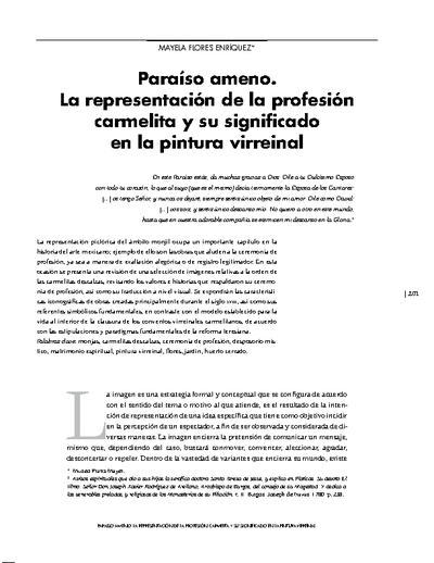 Paraíso ameno. La representación de la profesión carmelita y su significado en la pintura virreinal