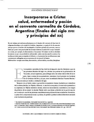 Incorporarse a Cristo: salud, enfermedad y pasión en el convento carmelita de Córdoba, Argentina (finales del siglo XVIII y principios del XIX)