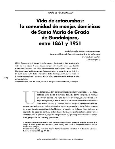Vida de catacumbas: la comunidad de monjas dominicas de Santa María de Gracia de Guadalajara, entre 1861 y 1951