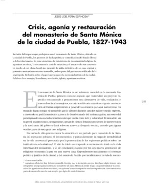 Crisis, agonía y restauración del monasterio de Santa Mónica de la ciudad de Puebla, 1827-1943