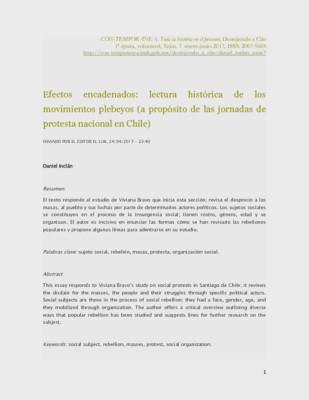 Efectos encadenados: lectura histórica de los movimientos plebeyos (a propósito de las jornadas de protesta nacional en Chile)
