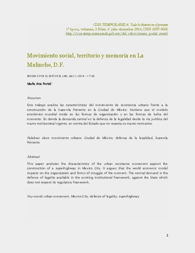 Movimiento social, territorio y memoria en La Malinche, D.F.