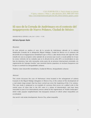 El caso de la Cerrada de Andrómaco en el contexto del megaproyecto de Nuevo Polanco, Ciudad de México