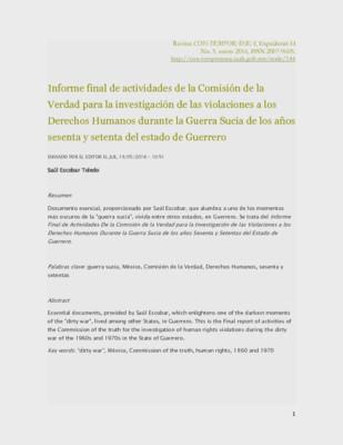 Informe final de actividades de la Comisión de la Verdad para la investigación de las violaciones a los Derechos Humanos durante la Guerra Sucia de los años sesenta y setenta del estado de Guerrero