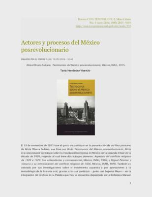 Actores y procesos del México posrevolucionario