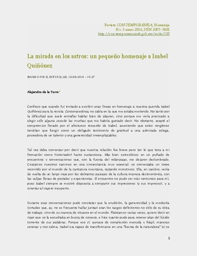 La mirada en los astros: un pequeño homenaje a Isabel Quiñónez