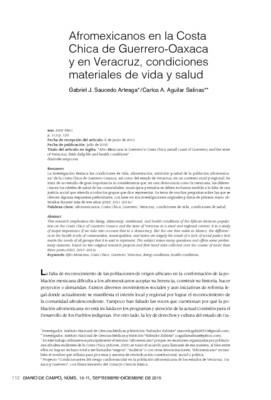 Afromexicanos en la Costa Chica de Guerrero- Oaxaca y en Veracruz, condiciones materiales de vida y salud