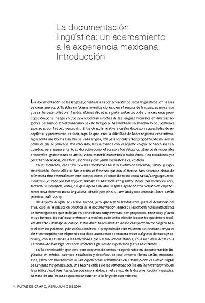 La documentación lingüística: un acercamiento a la experiencia mexicana. Introducción