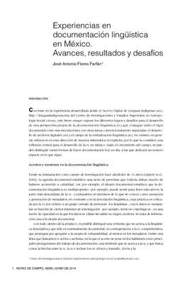 Experiencias en documentación lingüística en México. Avances, resultados y desafíos