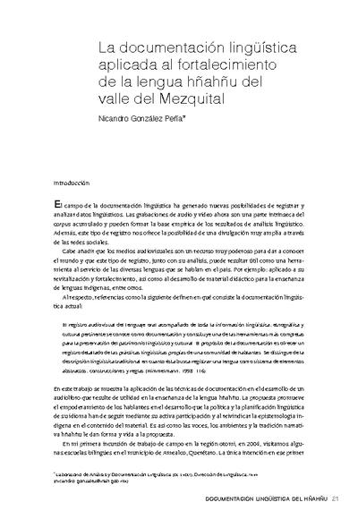 La documentación lingüística aplicada al fortalecimiento de la lengua hñahñu del valle del Mezquital
