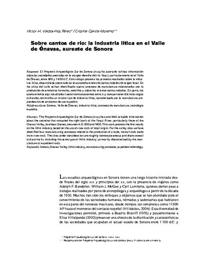 Sobre cantos de río: la industria lítica en el Valle de Ónavas, sureste de Sonora