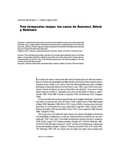 Tres temazcales mayas: los casos de Acanmul, Edzná y Oxkintok