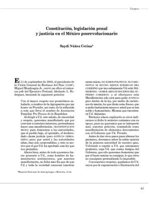 Constitución, legislación penal y justicia en el México posrevolucionario