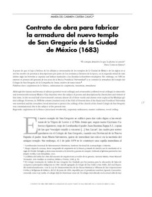 Contrato de obra para fabricar la armadura del nuevo templo de San Gregorio de la Ciudad de México (1683)