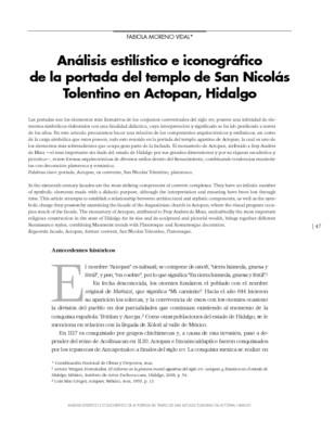 Análisis estilístico e iconográfico de la portada del templo de San Nicolás Tolentino en Actopan, Hidalgo