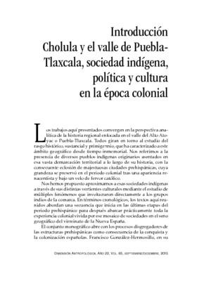 Cholula y el valle de Puebla- Tlaxcala, sociedad indígena, política y cultura en la época colonial