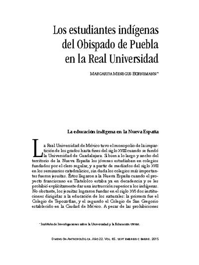 Los estudiantes indígenas del Obispado del Puebla en la Real Universidad