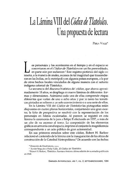 La Lámina VIII del Códice de Tlatelolco. Una propuesta de lectura