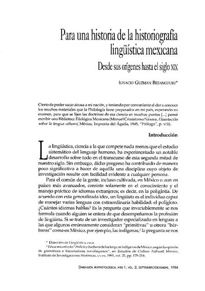 Para una historia de la historiografía lingüística mexicana. Desde sus orígenes hasta el siglo XIX