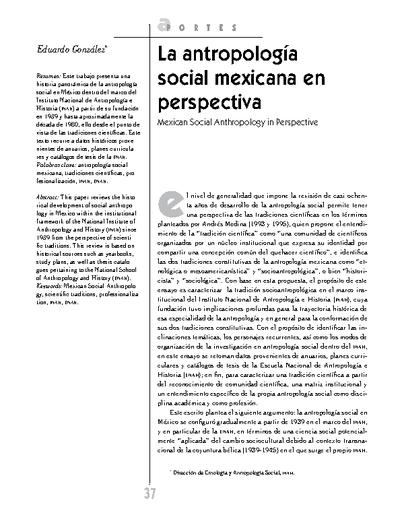 La antropología social mexicana en perspectiva