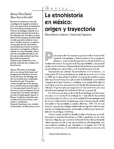 La etnohistoria en México: origen y trayectoria
