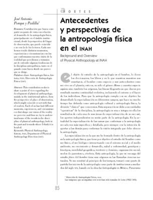 Antecedentes y perspectivas de la Antropología física en el INAH