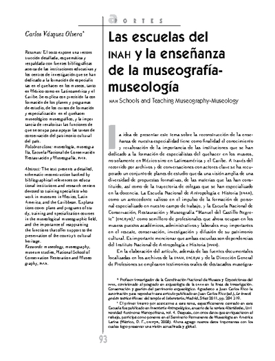 Las escuelas del INAH y la enseñanza de la museografía-museología