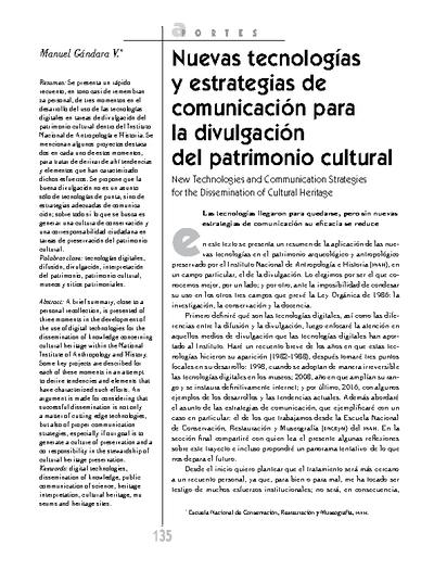 Nuevas tecnologías y estrategias de comunicación para la divulgación del patrimonio cultural